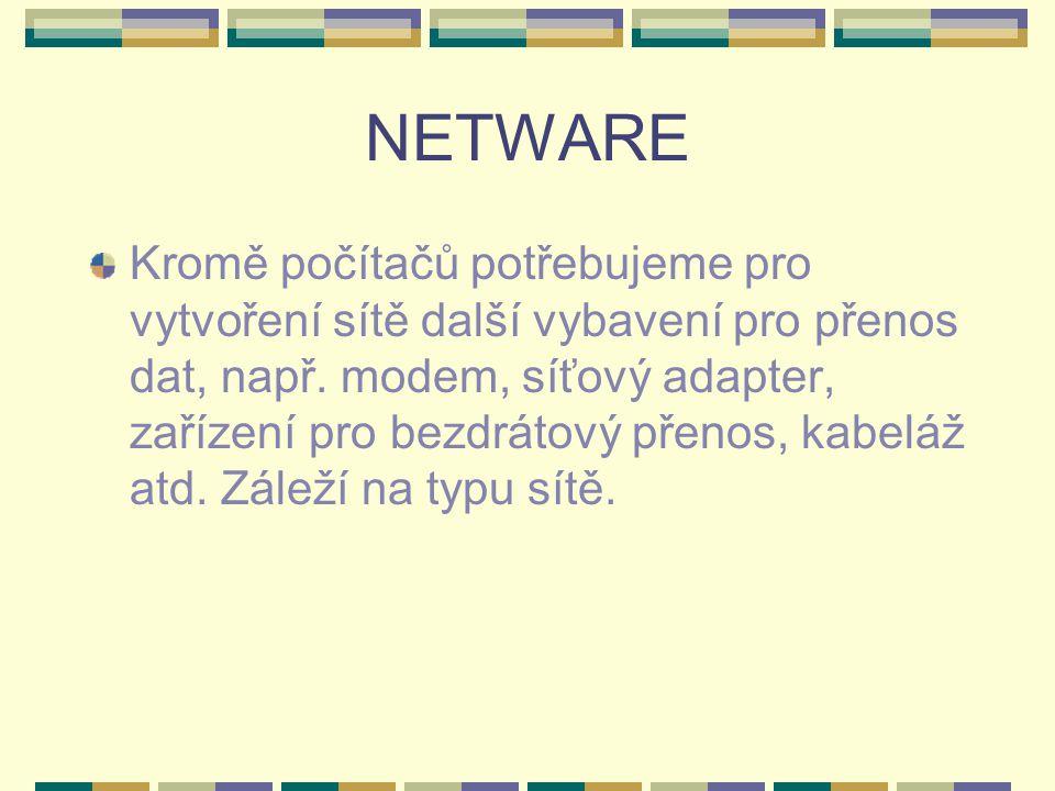 NETWARE Kromě počítačů potřebujeme pro vytvoření sítě další vybavení pro přenos dat, např. modem, síťový adapter, zařízení pro bezdrátový přenos, kabe