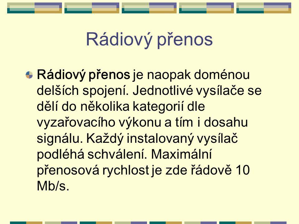 Rádiový přenos Rádiový přenos je naopak doménou delších spojení. Jednotlivé vysílače se dělí do několika kategorií dle vyzařovacího výkonu a tím i dos