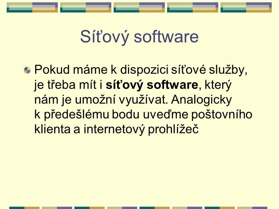 Síťový software Pokud máme k dispozici síťové služby, je třeba mít i síťový software, který nám je umožní využívat. Analogicky k předešlému bodu uveďm