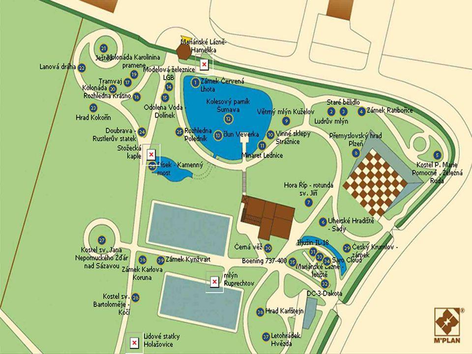 Krajinný park v Mariánských Lázních – naučně poznávací okruh s dokonalými maketami (měřítko 1: 25) významných stavebních a technických památek ČR