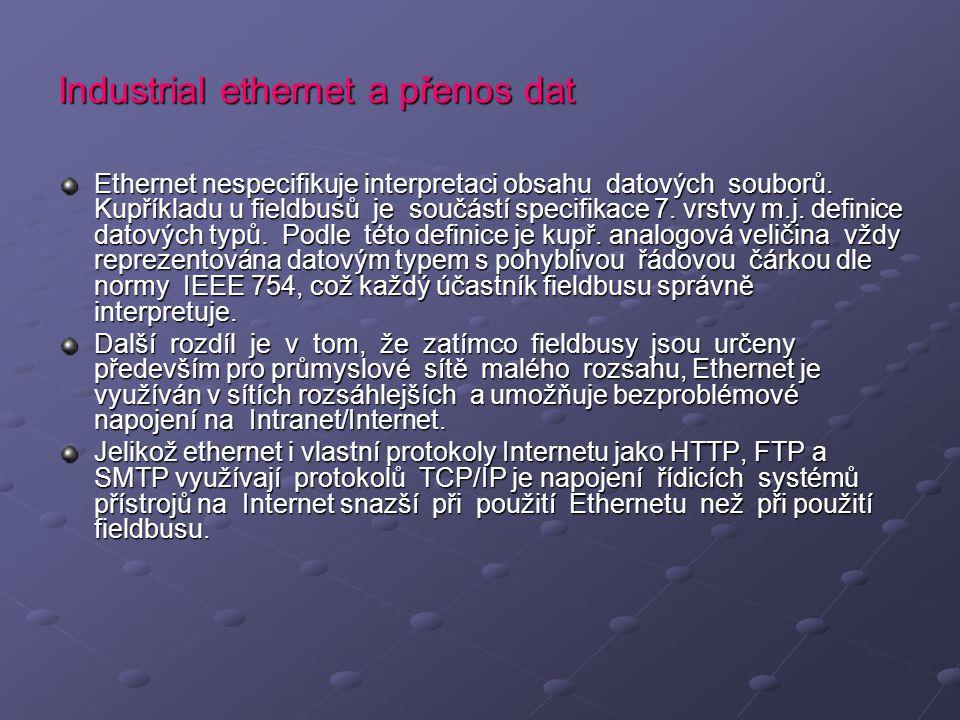 Industrial ethernet a přenos dat Ethernet nespecifikuje interpretaci obsahu datových souborů. Kupříkladu u fieldbusů je součástí specifikace 7. vrstvy