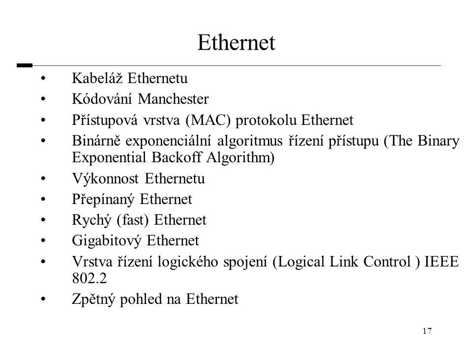 17 Ethernet Kabeláž Ethernetu Kódování Manchester Přístupová vrstva (MAC) protokolu Ethernet Binárně exponenciální algoritmus řízení přístupu (The Bin