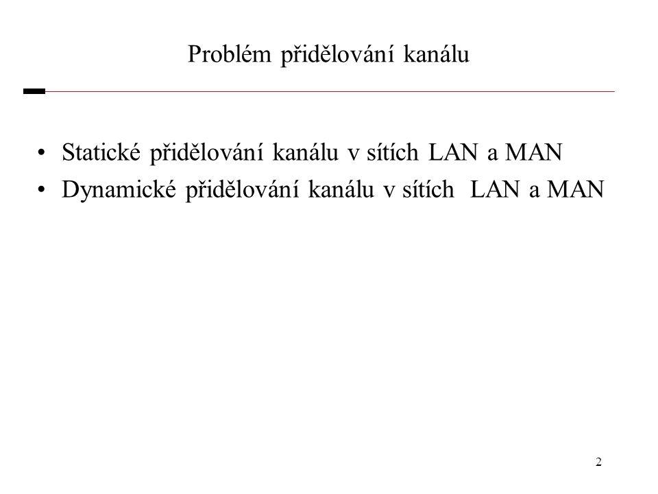 2 Problém přidělování kanálu Statické přidělování kanálu v sítích LAN a MAN Dynamické přidělování kanálu v sítích LAN a MAN