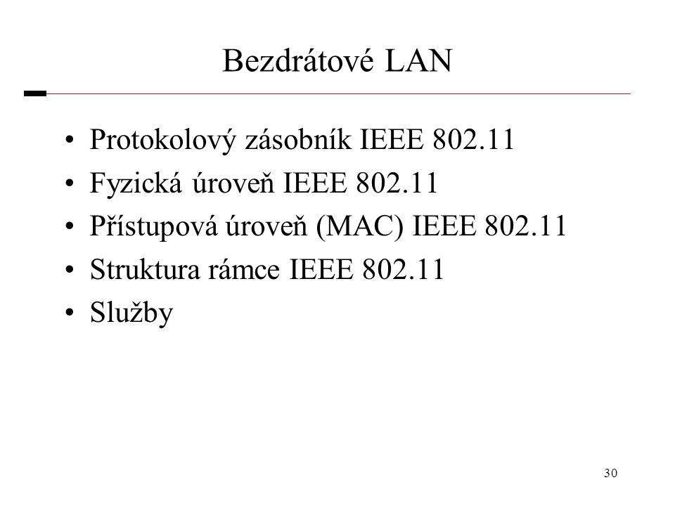 30 Bezdrátové LAN Protokolový zásobník IEEE 802.11 Fyzická úroveň IEEE 802.11 Přístupová úroveň (MAC) IEEE 802.11 Struktura rámce IEEE 802.11 Služby