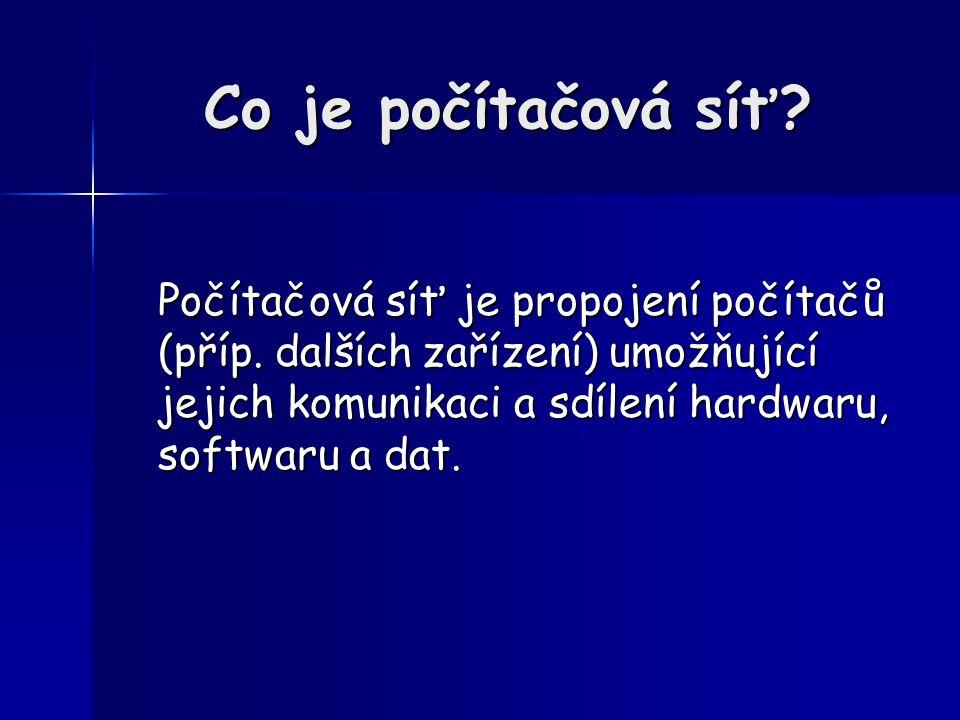 Využití sítí Sdílení prostředků Sdílení prostředků – datových souborů (programy, data), – technických prostředků (drahé periferie, kapacity), – mezi uživateli/mezi programy.