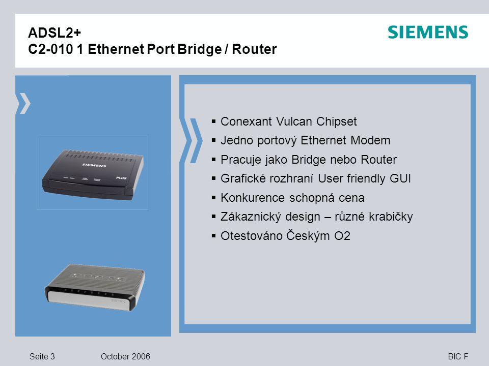 Seite 3 October 2006 BIC F ADSL2+ C2-010 1 Ethernet Port Bridge / Router  Conexant Vulcan Chipset  Jedno portový Ethernet Modem  Pracuje jako Bridge nebo Router  Grafické rozhraní User friendly GUI  Konkurence schopná cena  Zákaznický design – různé krabičky  Otestováno Českým O2
