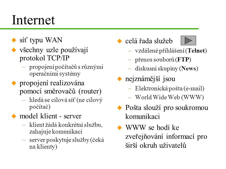 Internet u síť typu WAN u všechny uzle používají protokol TCP/IP –propojení počítačů s různými operačními systémy u propojení realizována pomocí směrovačů (router) –hledá se cílová síť (ne cílový počítač) u model klient - server –klient žádá konkrétní službu, zahajuje komunikaci –server poskytuje služby (čeká na klienty) u celá řada služeb –vzdálené přihlášení (Telnet) –přenos souborů (FTP) –diskusní skupiny (News) u nejznámější jsou –Elektronická pošta (e-mail) –World Wide Web (WWW) u Pošta slouží pro soukromou komunikaci u WWW se hodí ke zveřejňování informací pro širší okruh uživatelů
