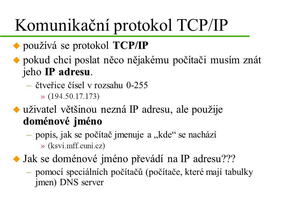 Komunikační protokol TCP/IP TCP/IP u používá se protokol TCP/IP IP adresu u pokud chci poslat něco nějakému počítači musím znát jeho IP adresu.