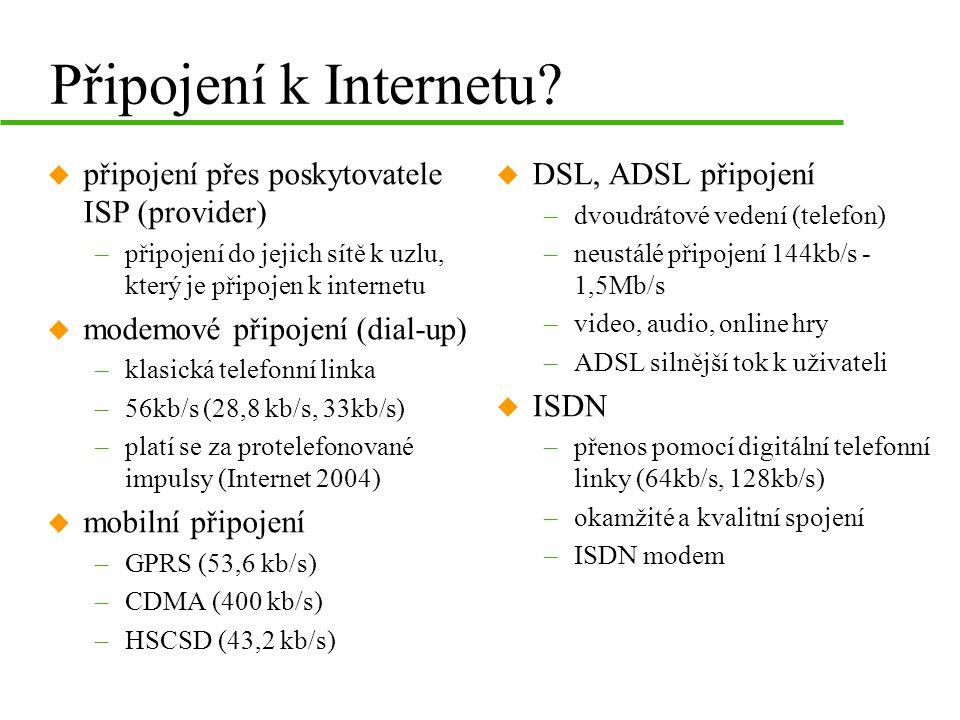 Připojení k Internetu.