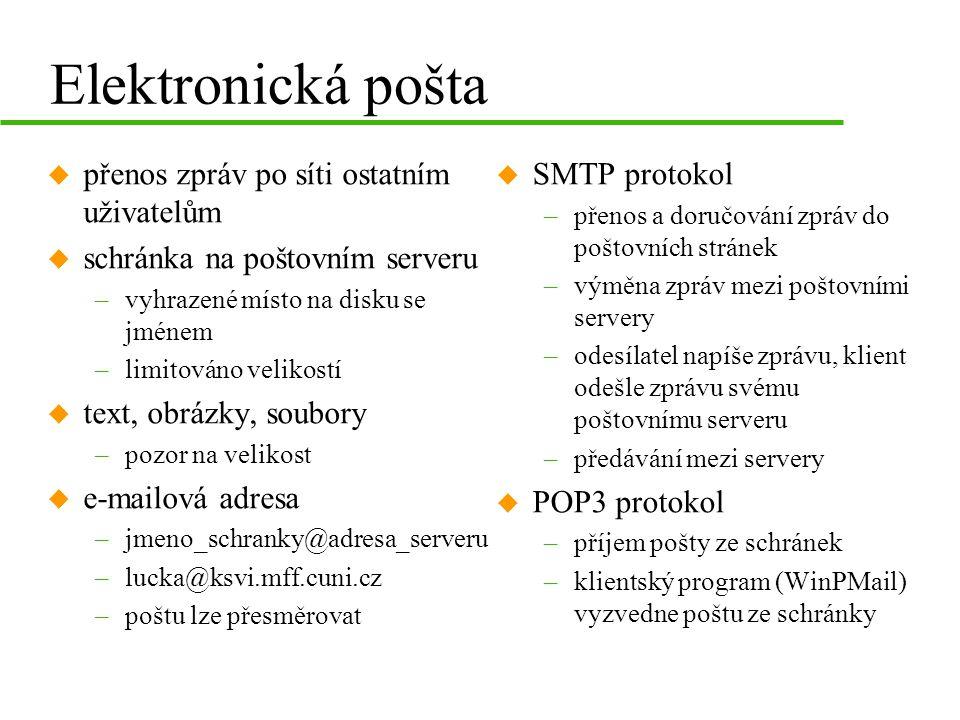 Elektronická pošta u přenos zpráv po síti ostatním uživatelům u schránka na poštovním serveru –vyhrazené místo na disku se jménem –limitováno velikostí u text, obrázky, soubory –pozor na velikost u e-mailová adresa –jmeno_schranky@adresa_serveru –lucka@ksvi.mff.cuni.cz –poštu lze přesměrovat u SMTP protokol –přenos a doručování zpráv do poštovních stránek –výměna zpráv mezi poštovními servery –odesílatel napíše zprávu, klient odešle zprávu svému poštovnímu serveru –předávání mezi servery u POP3 protokol –příjem pošty ze schránek –klientský program (WinPMail) vyzvedne poštu ze schránky
