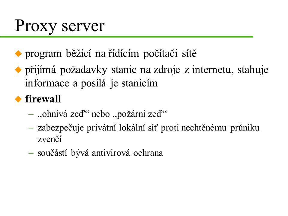 """Proxy server u program běžící na řídícím počítači sítě u přijímá požadavky stanic na zdroje z internetu, stahuje informace a posílá je stanicím u firewall –""""ohnivá zeď nebo """"požární zeď –zabezpečuje privátní lokální síť proti nechtěnému průniku zvenčí –součástí bývá antivirová ochrana"""