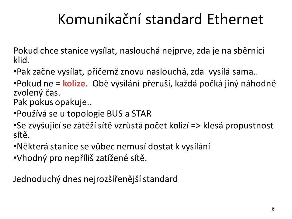 Komunikační standard Ethernet Pokud chce stanice vysílat, naslouchá nejprve, zda je na sběrnici klid.