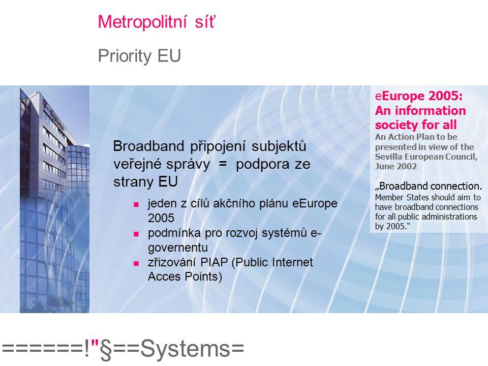 ======! §==Systems= Metropolitní síť Typické využití: Městský intranet Účastníci Orgány veřejné správy Městské organizace Možnosti Přístup do Internetu Bezpečný e-mail Sdílení dat a IT systémů v privátním prostředí Politika komunikace Mobilní přístup k městskému intranetu Videopřenosy, videokonference
