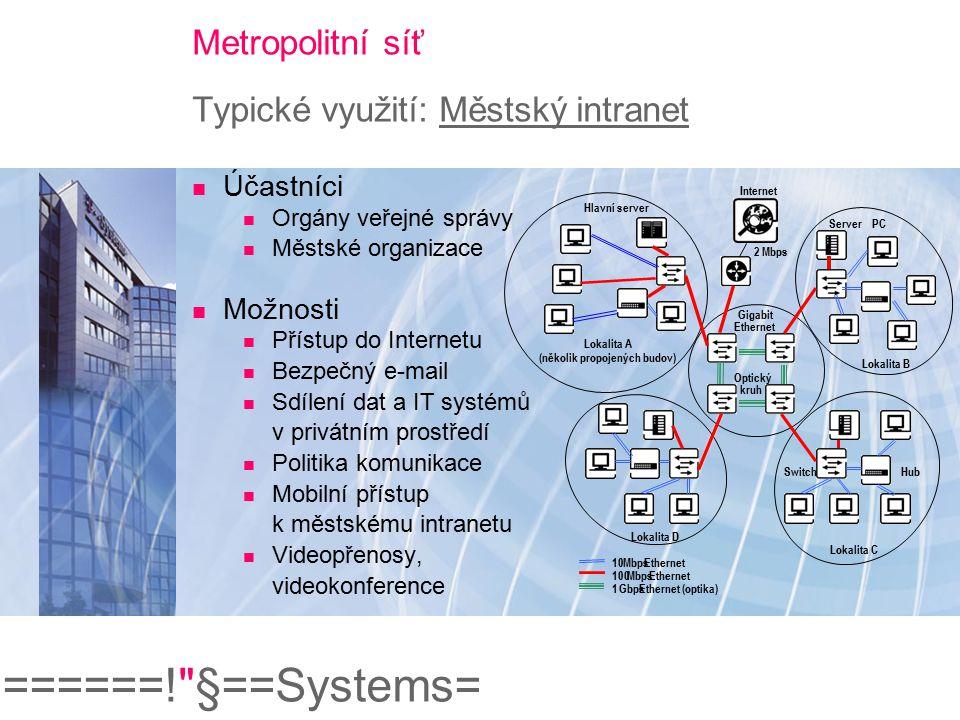 ======! §==Systems= Metropolitní síť Typické využití: Městský intranet Magistrát GSM (GPRS Support Node) intranet Propojení intranetu zákazníka a IP sítě TMCZ (kryptovaný Internet tunel nebo pronajatá linka) GSM ústředna zastupitel Cisco router (IP Sec) APN intranet.mesto.cz T-Mobile nebo jiný mobilní operátor Mobilní GPRS zařízení (IP Sec) Mobilní přístup k městskému intranetu a mail serveru Řešení mobilní kanceláře pro zastupitele a teréní pracovníci Plný a zcela bezpečný přístup do sítě prostřednictvím GPRS