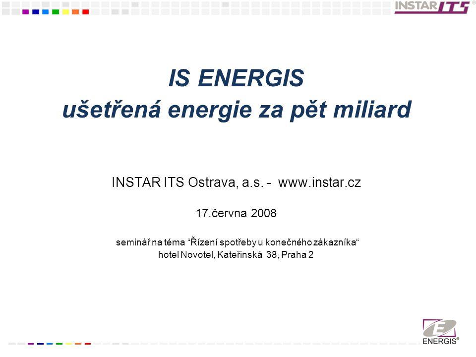 IS ENERGIS ušetřená energie za pět miliard INSTAR ITS Ostrava, a.s.