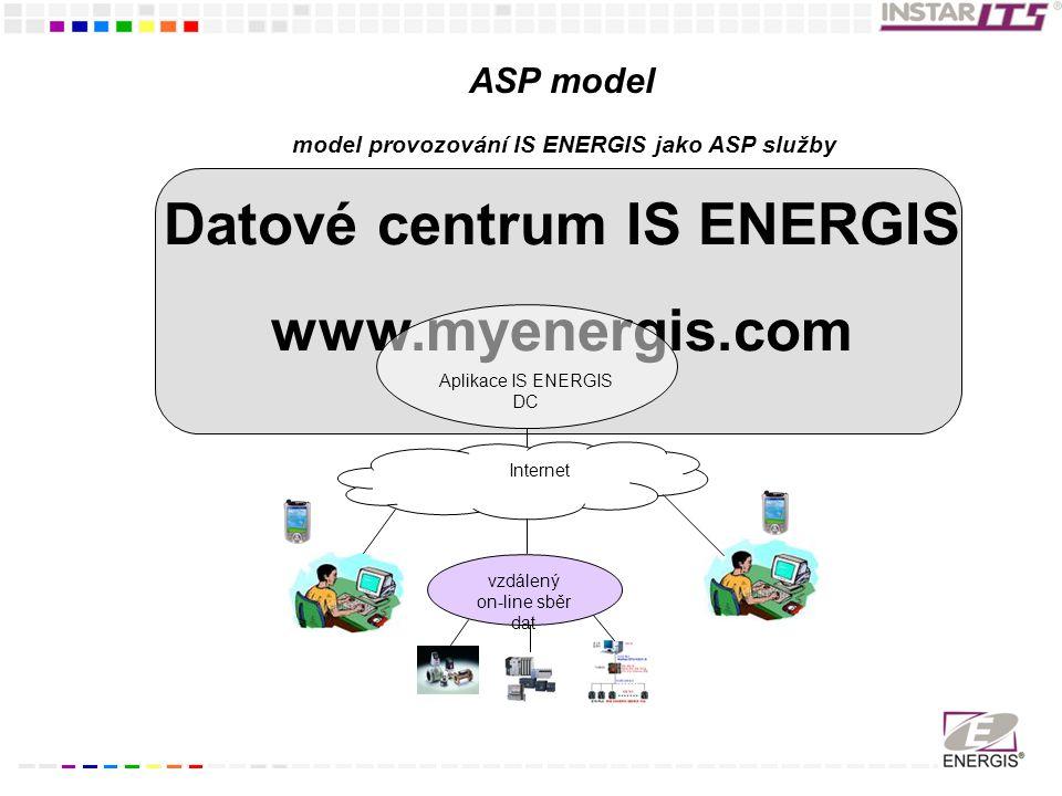 model provozování IS ENERGIS jako ASP služby Datové centrum IS ENERGIS www.myenergis.com Aplikace IS ENERGIS DC Internet vzdálený on-line sběr dat ASP model