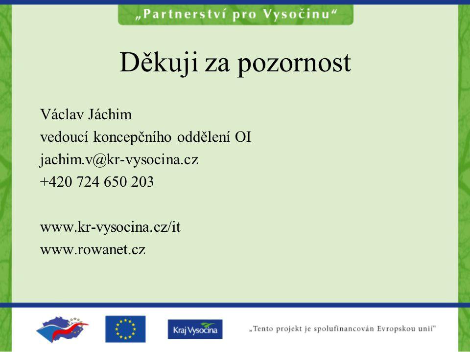 Děkuji za pozornost Václav Jáchim vedoucí koncepčního oddělení OI jachim.v@kr-vysocina.cz +420 724 650 203 www.kr-vysocina.cz/it www.rowanet.cz