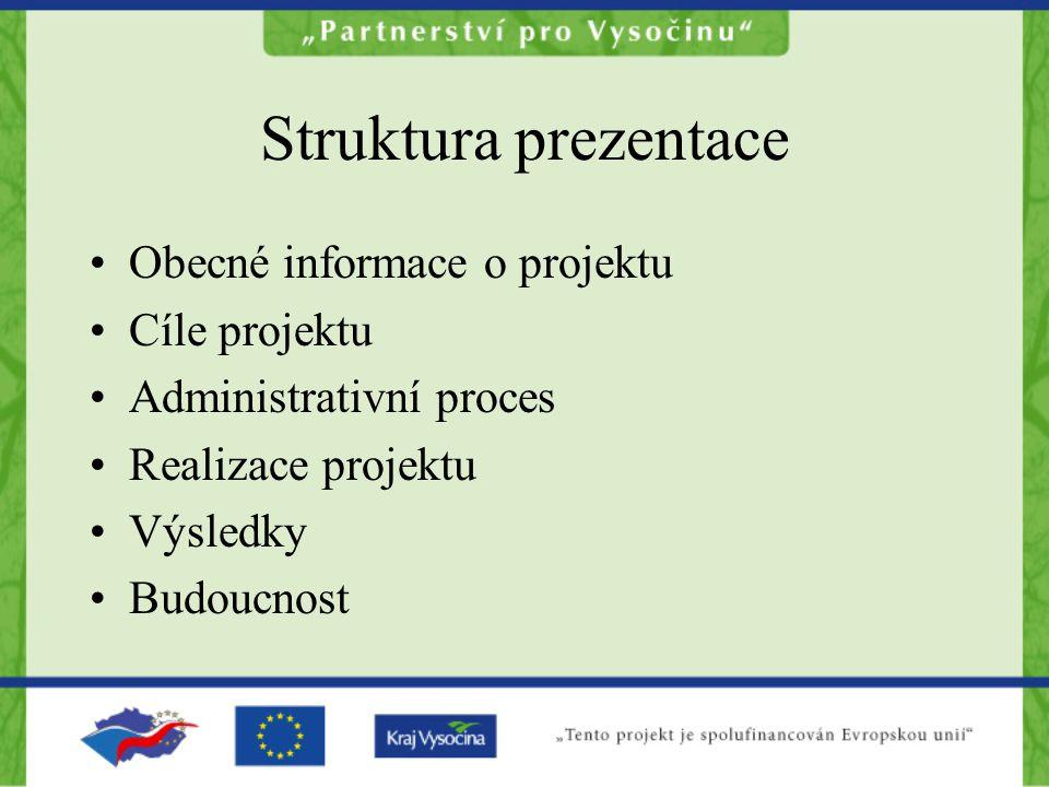 Struktura prezentace Obecné informace o projektu Cíle projektu Administrativní proces Realizace projektu Výsledky Budoucnost