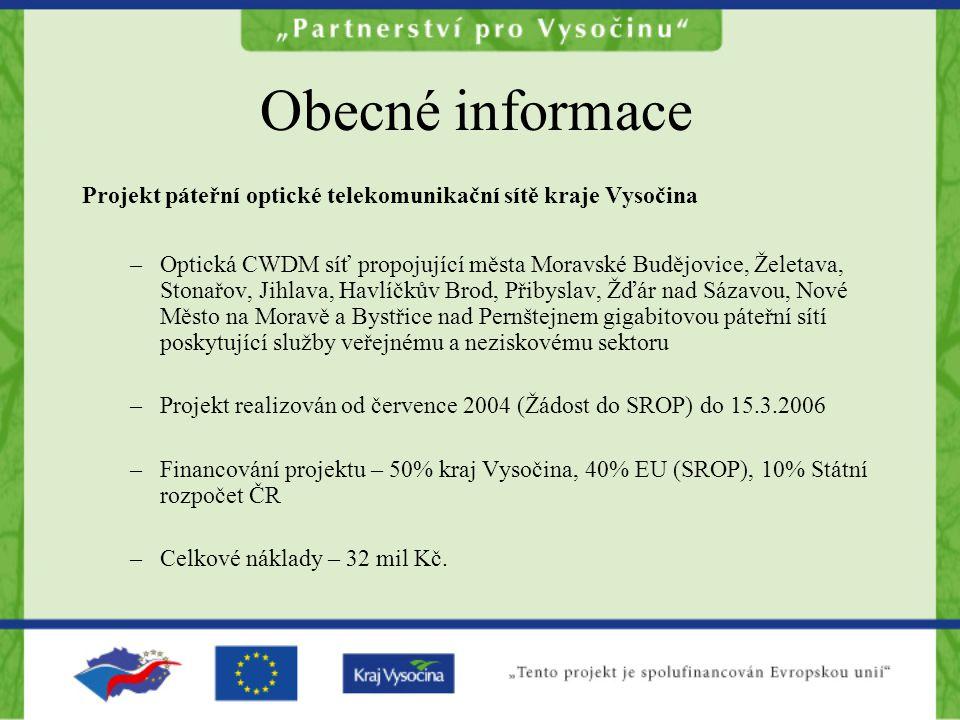 Obecné informace Projekt páteřní optické telekomunikační sítě kraje Vysočina –Optická CWDM síť propojující města Moravské Budějovice, Želetava, Stonař