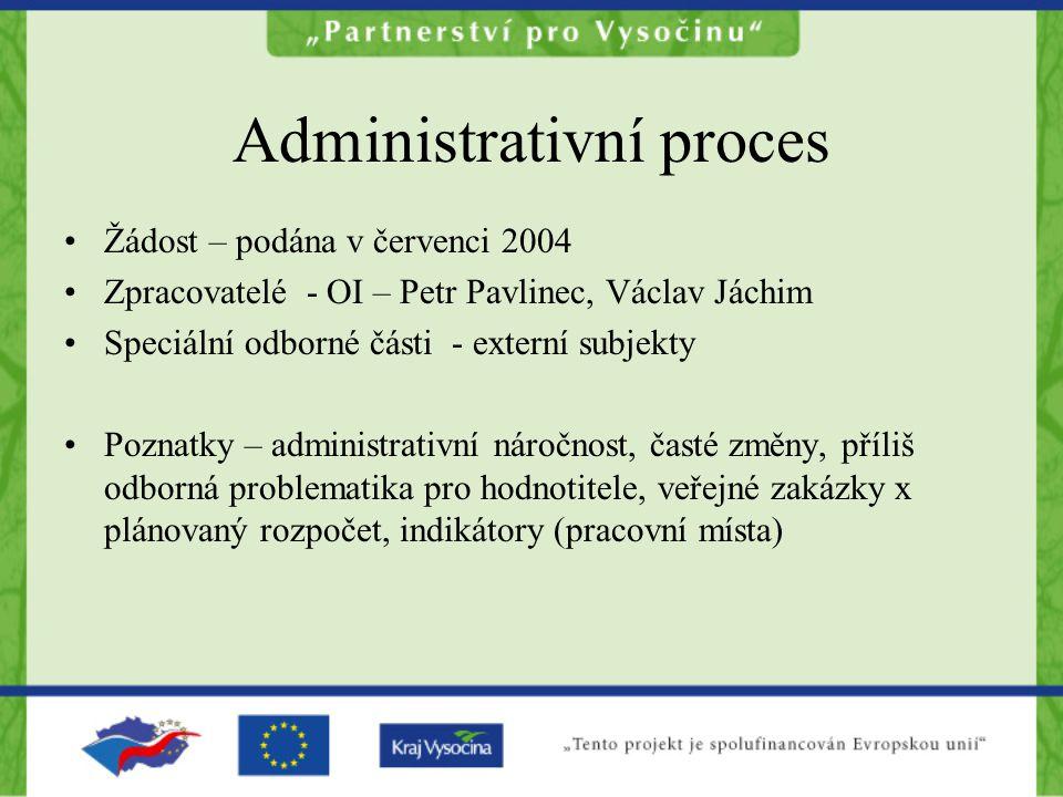Administrativní proces Žádost – podána v červenci 2004 Zpracovatelé - OI – Petr Pavlinec, Václav Jáchim Speciální odborné části - externí subjekty Poz