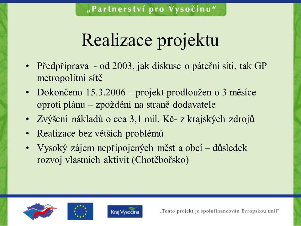 Realizace projektu Předpříprava - od 2003, jak diskuse o páteřní síti, tak GP metropolitní sítě Dokončeno 15.3.2006 – projekt prodloužen o 3 měsíce op