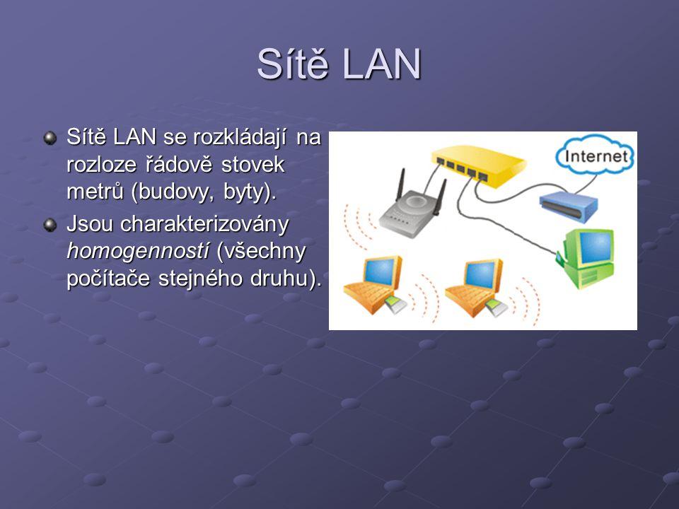 Sítě LAN Sítě LAN se rozkládají na rozloze řádově stovek metrů (budovy, byty). Jsou charakterizovány homogenností (všechny počítače stejného druhu).