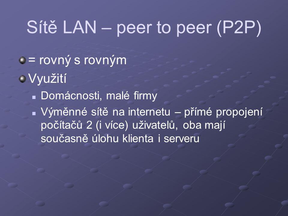Sítě LAN – peer to peer (P2P) = rovný s rovným Využití Domácnosti, malé firmy Výměnné sítě na internetu – přímé propojení počítačů 2 (i více) uživatel