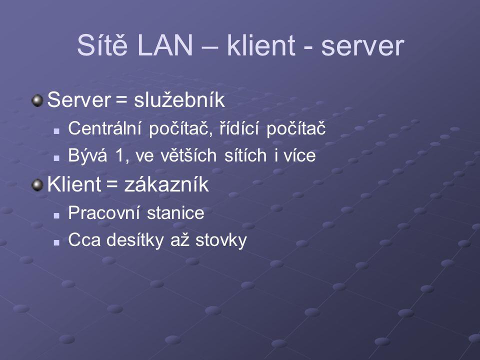 Sítě LAN – klient - server Server = služebník Centrální počítač, řídící počítač Bývá 1, ve větších sítích i více Klient = zákazník Pracovní stanice Cc