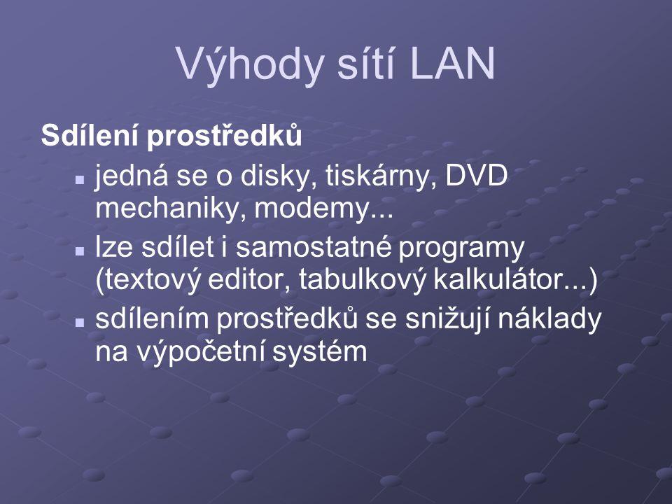 Výhody sítí LAN Sdílení prostředků jedná se o disky, tiskárny, DVD mechaniky, modemy... lze sdílet i samostatné programy (textový editor, tabulkový ka