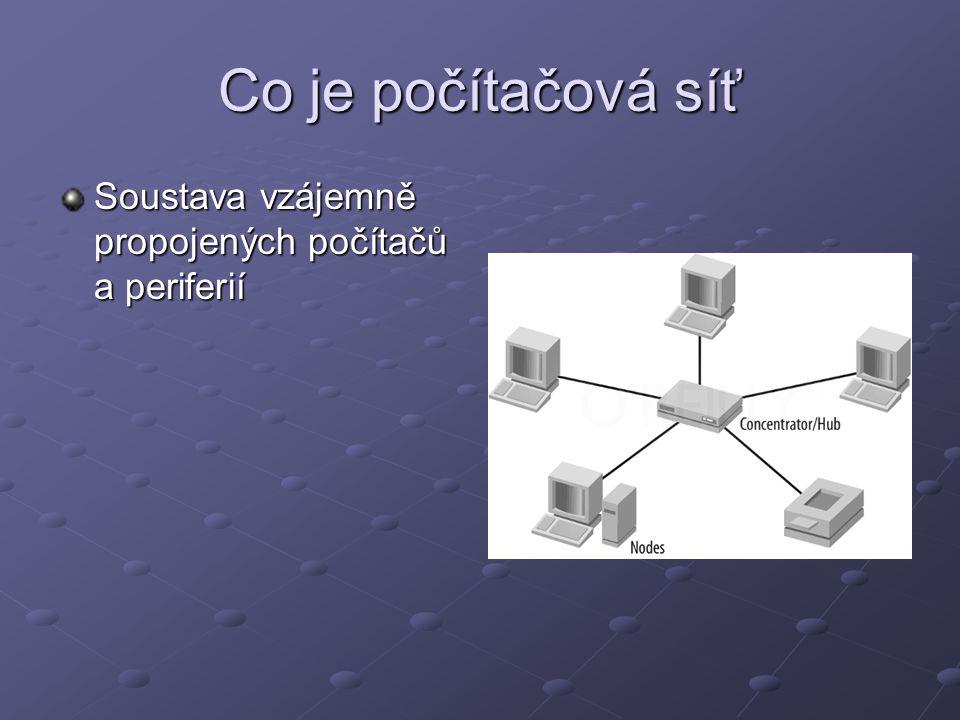 Co je počítačová síť Soustava vzájemně propojených počítačů a periferií