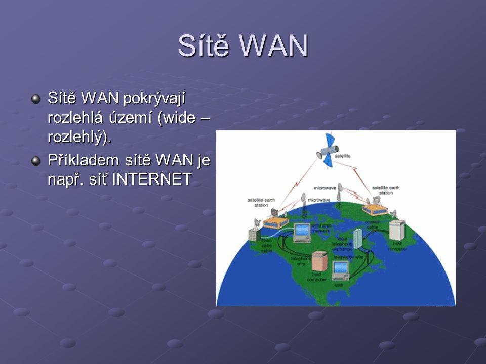 Sítě WAN Sítě WAN pokrývají rozlehlá území (wide – rozlehlý). Příkladem sítě WAN je např. síť INTERNET