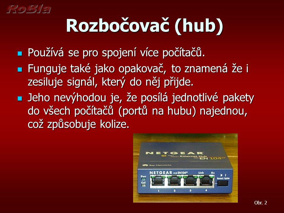 Rozbočovač (hub) Rozbočovač (hub) Používá se pro spojení více počítačů. Používá se pro spojení více počítačů. Funguje také jako opakovač, to znamená ž