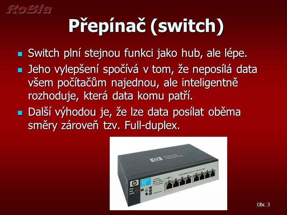 Přepínač (switch) Přepínač (switch) Switch plní stejnou funkci jako hub, ale lépe. Switch plní stejnou funkci jako hub, ale lépe. Jeho vylepšení spočí