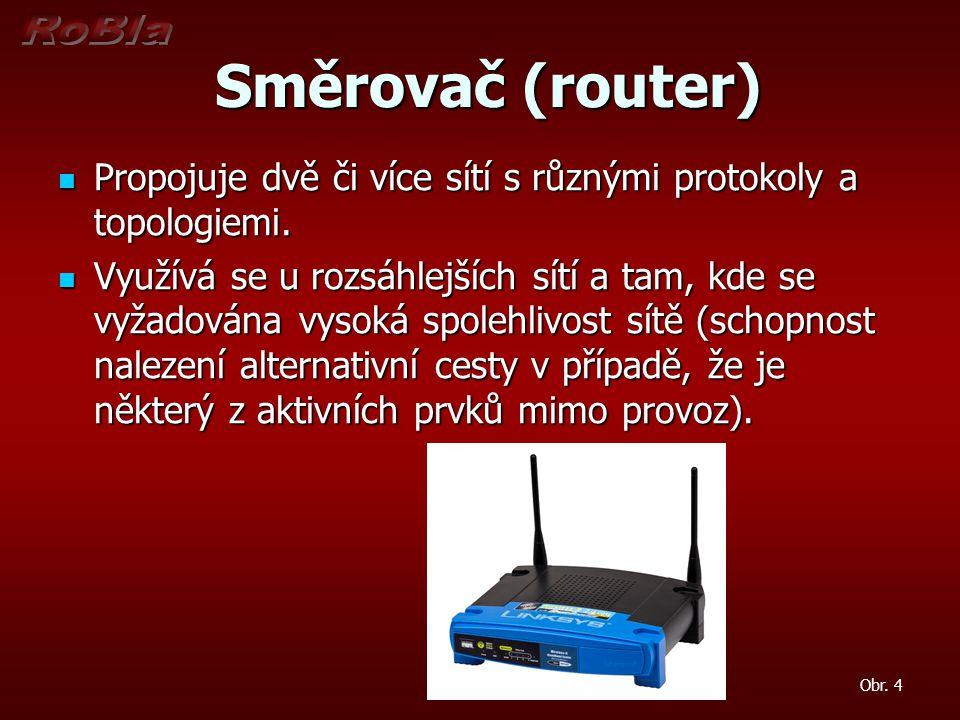 Směrovač (router) Směrovač (router) Propojuje dvě či více sítí s různými protokoly a topologiemi. Propojuje dvě či více sítí s různými protokoly a top