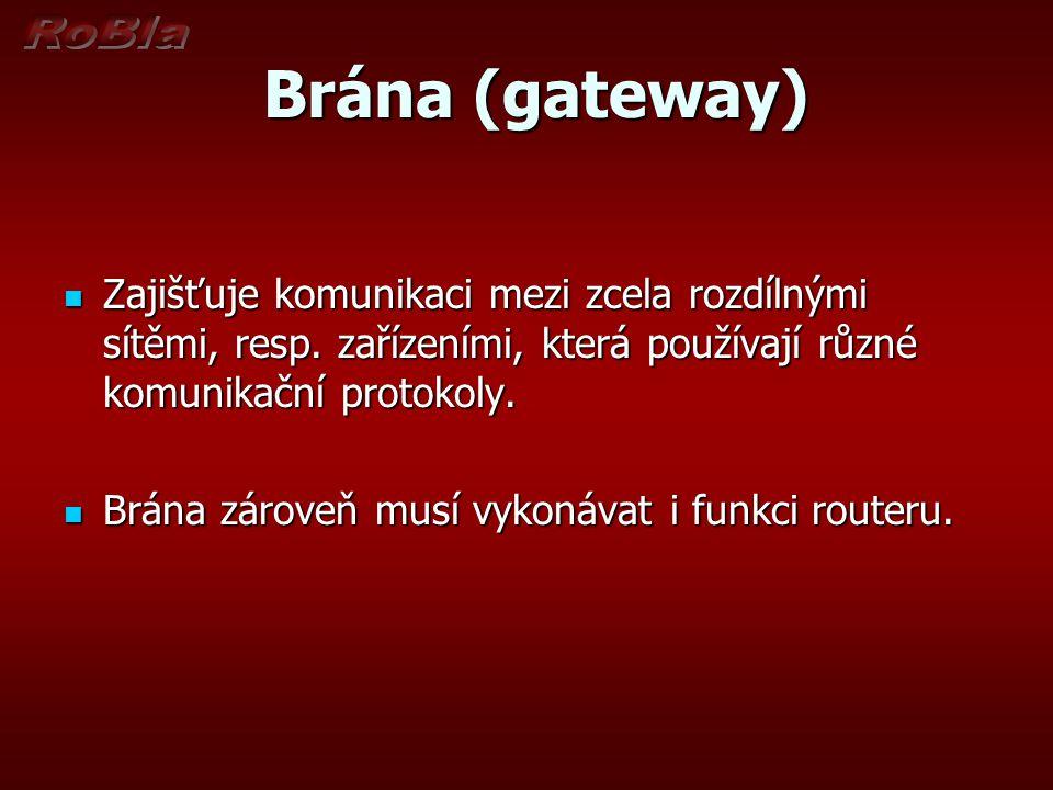 Brána (gateway) Brána (gateway) Zajišťuje komunikaci mezi zcela rozdílnými sítěmi, resp. zařízeními, která používají různé komunikační protokoly. Zaji