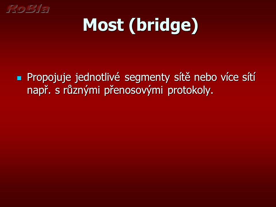 Most (bridge) Most (bridge) Propojuje jednotlivé segmenty sítě nebo více sítí např. s různými přenosovými protokoly. Propojuje jednotlivé segmenty sít