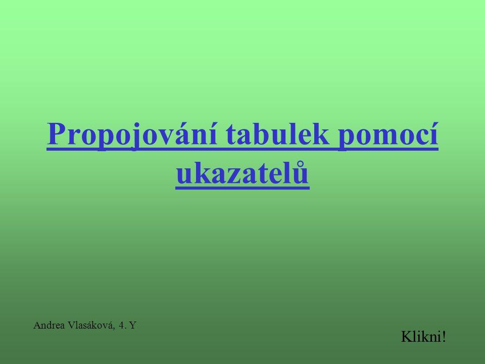 Propojování tabulek pomocí ukazatelů Andrea Vlasáková, 4. Y Klikni!