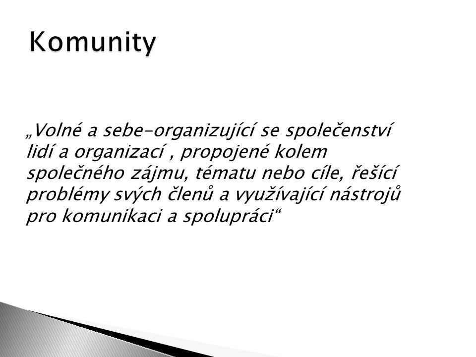 """""""Volné a sebe-organizující se společenství lidí a organizací, propojené kolem společného zájmu, tématu nebo cíle, řešící problémy svých členů a využívající nástrojů pro komunikaci a spolupráci"""