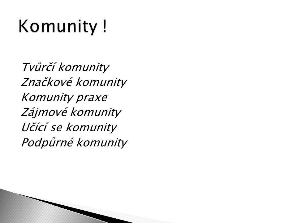 Tvůrčí komunity Značkové komunity Komunity praxe Zájmové komunity Učící se komunity Podpůrné komunity