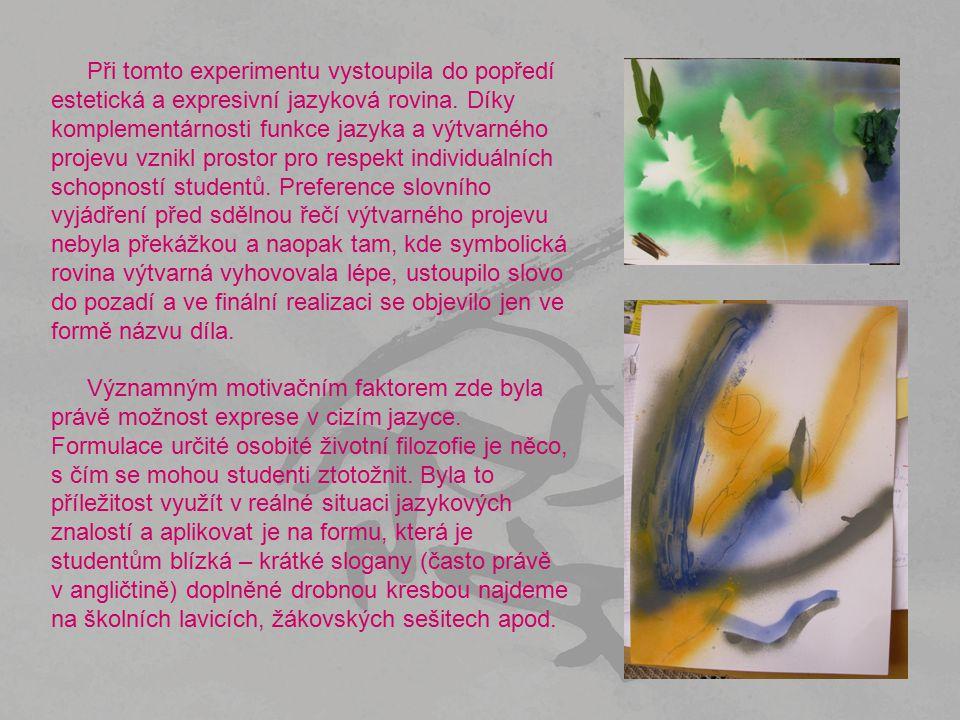 Při tomto experimentu vystoupila do popředí estetická a expresivní jazyková rovina. Díky komplementárnosti funkce jazyka a výtvarného projevu vznikl p