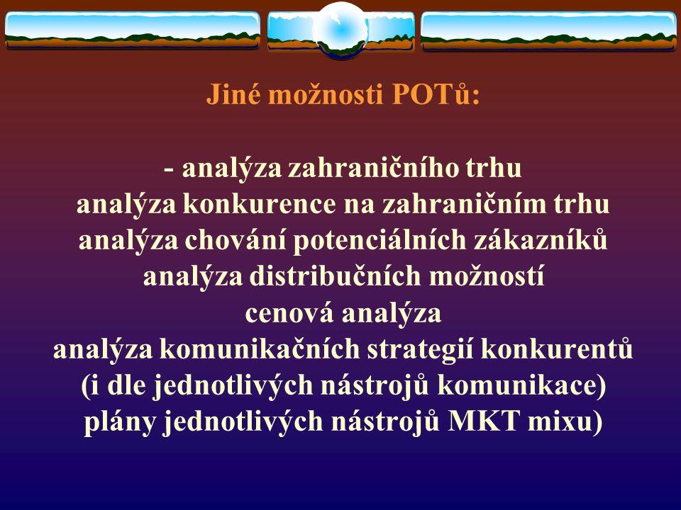 Jiné možnosti POTů: - analýza zahraničního trhu analýza konkurence na zahraničním trhu analýza chování potenciálních zákazníků analýza distribučních možností cenová analýza analýza komunikačních strategií konkurentů (i dle jednotlivých nástrojů komunikace) plány jednotlivých nástrojů MKT mixu)