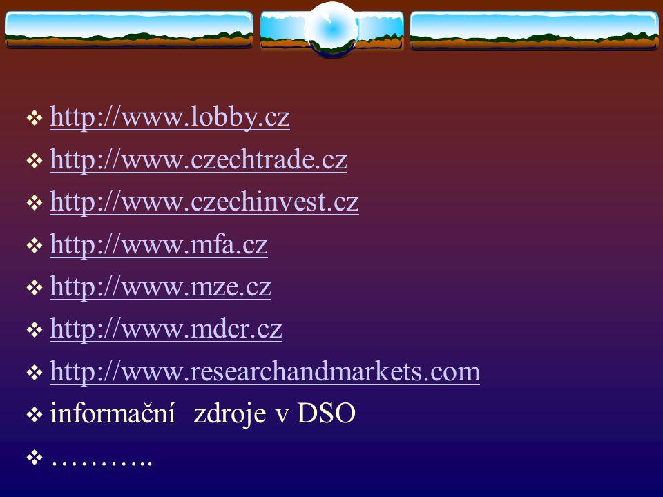  http://www.lobby.cz http://www.lobby.cz  http://www.czechtrade.cz http://www.czechtrade.cz  http://www.czechinvest.cz http://www.czechinvest.cz  http://www.mfa.cz http://www.mfa.cz  http://www.mze.cz http://www.mze.cz  http://www.mdcr.cz http://www.mdcr.cz  http://www.researchandmarkets.com http://www.researchandmarkets.com  informační zdroje v DSO  ………..