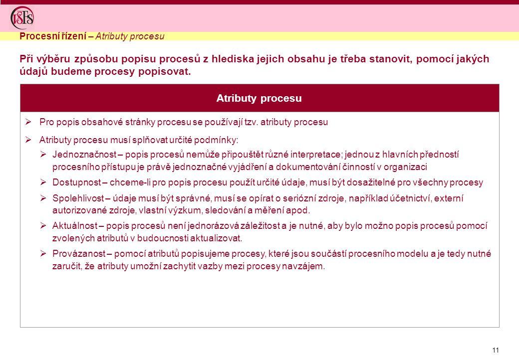 11  Pro popis obsahové stránky procesu se používají tzv. atributy procesu  Atributy procesu musí splňovat určité podmínky:  Jednoznačnost – popis p