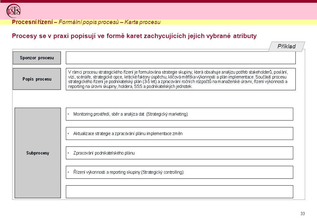 33 Procesy se v praxi popisují ve formě karet zachycujících jejich vybrané atributy Procesní řízení – Formální popis procesů – Karta procesu Příklad