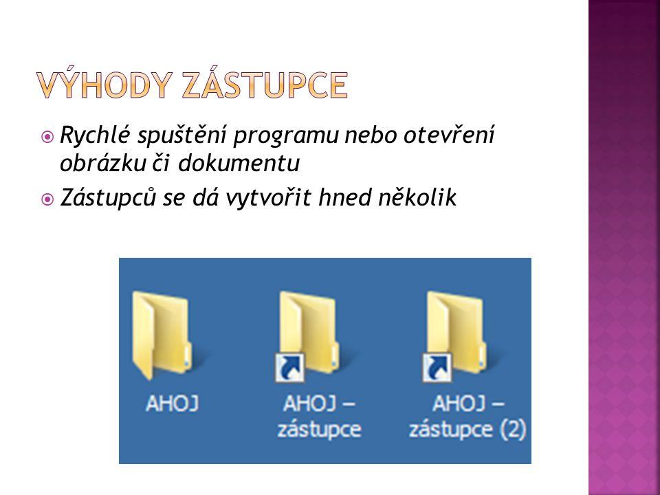  Rychlé spuštění programu nebo otevření obrázku či dokumentu  Zástupců se dá vytvořit hned několik
