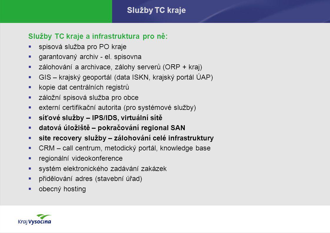 Služby TC kraje Služby TC kraje a infrastruktura pro ně:  spisová služba pro PO kraje  garantovaný archiv - el.