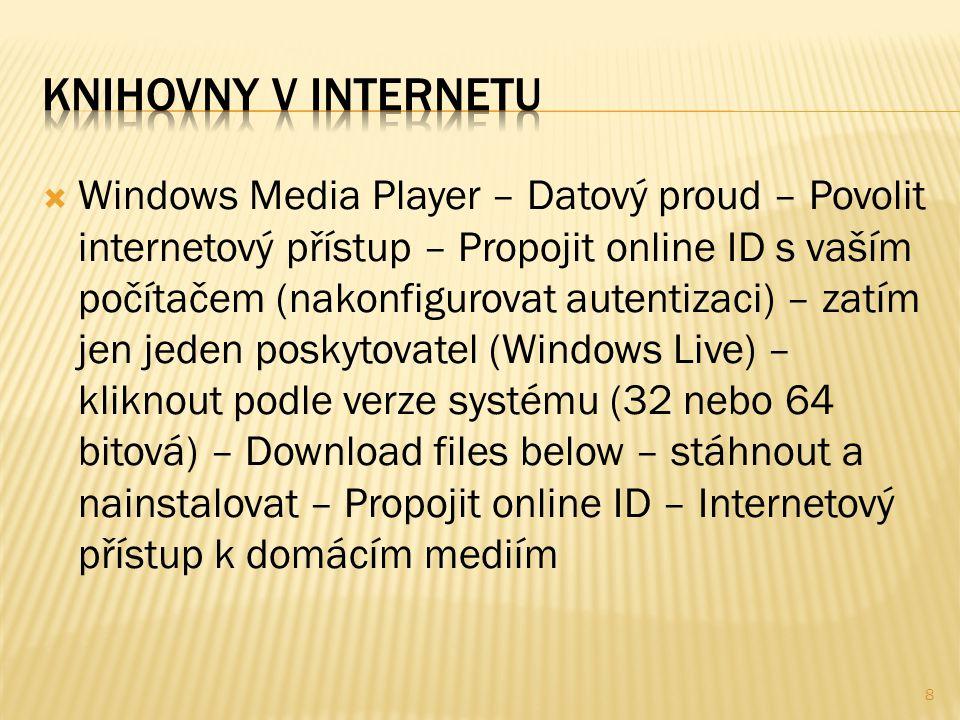  Windows Media Player – Datový proud – Povolit internetový přístup – Propojit online ID s vaším počítačem (nakonfigurovat autentizaci) – zatím jen je