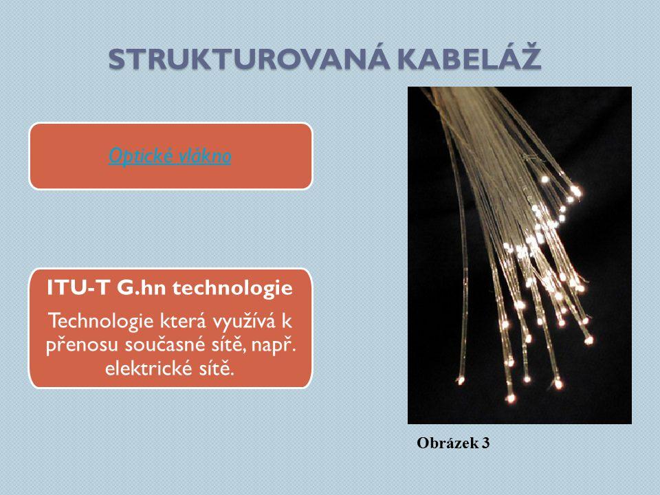 STRUKTUROVANÁ KABELÁŽ Optické vlákno ITU-T G.hn technologie Technologie která využívá k přenosu současné sítě, např.