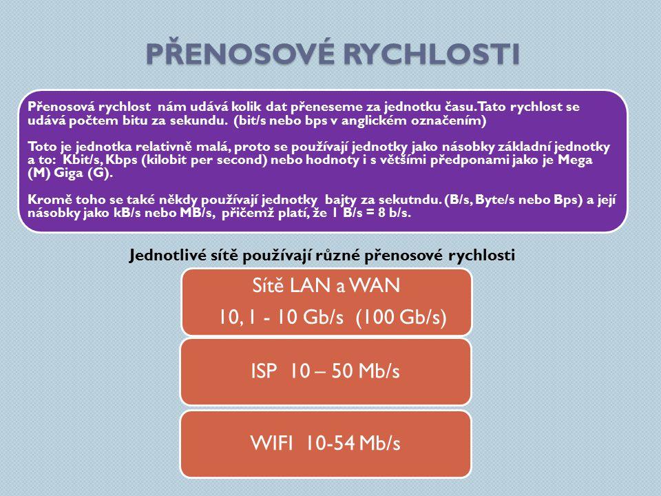 PŘENOSOVÉ RYCHLOSTI Sítě LAN a WAN 10, 1 - 10 Gb/s (100 Gb/s) ISP 10 – 50 Mb/s WIFI 10-54 Mb/s Přenosová rychlost nám udává kolik dat přeneseme za jednotku času.