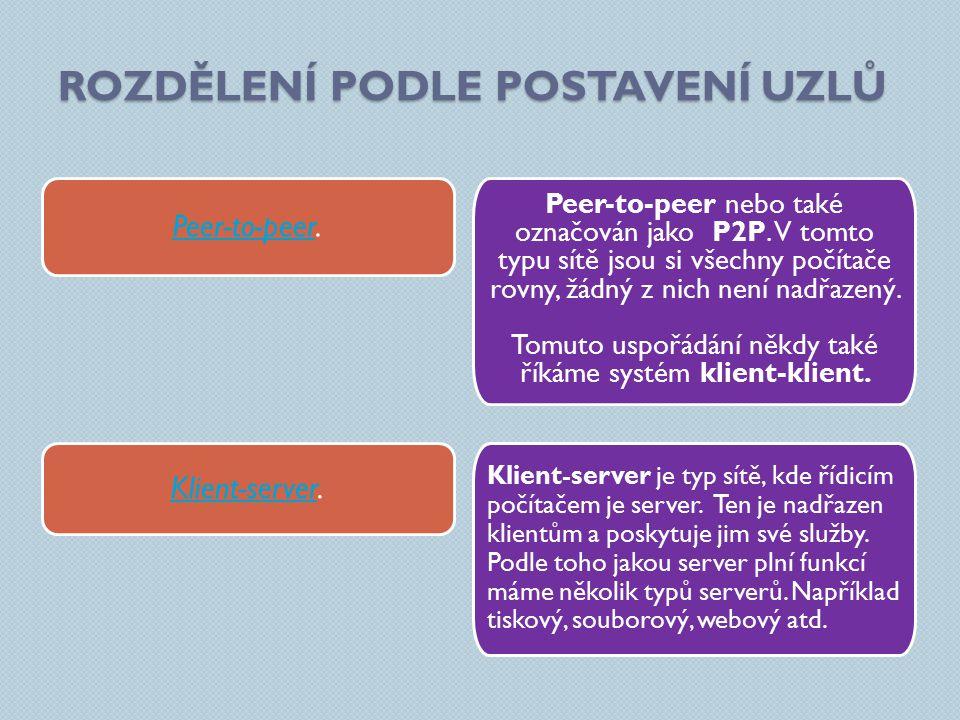 ROZDĚLENÍ PODLE POSTAVENÍ UZLŮ Peer-to-peer nebo také označován jako P2P.